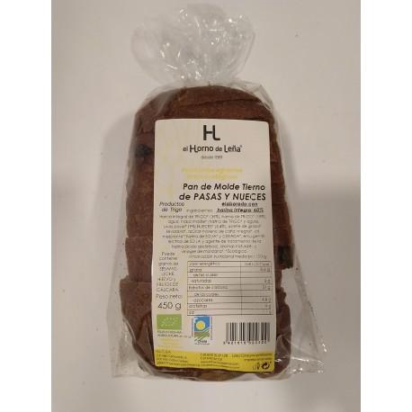 Pan de Molde Tierno de PASAS Y NUECES Elaborado con harina integral 60%